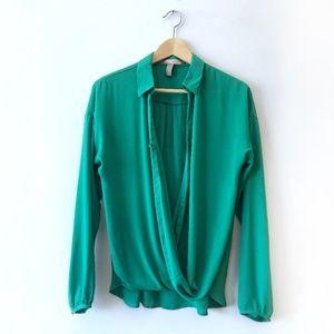 Forever 21 Drape Front Green Blouse | Medium